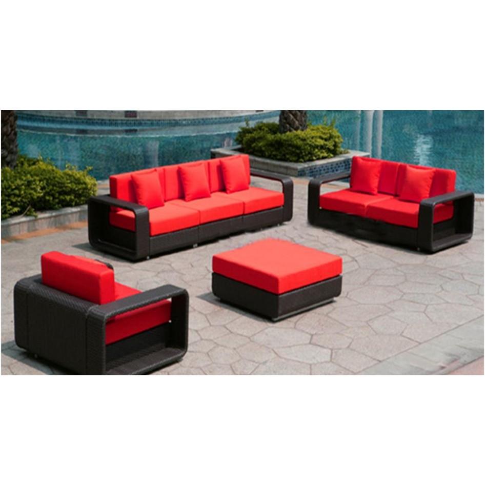 Dark Wicker Furniture Red Cushions