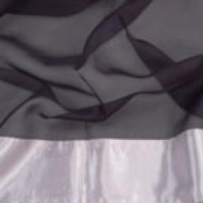 Black Sheer with Silver Satin Border - LSH07