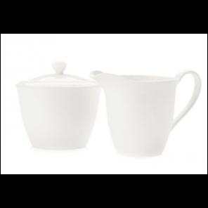 White China Sugar Bowl and Creamer - C016