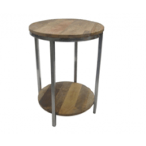 Rustic Wood and Metal End Table - SF97