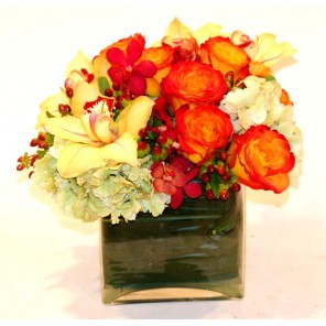 Hydrangea, Roses and Orchids in a Glass Cube - PF25