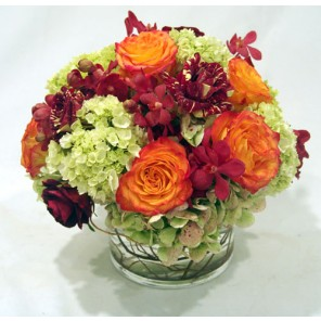 Hydrangea, Roses and Orchids in a Low Glass Cylinder - PF26