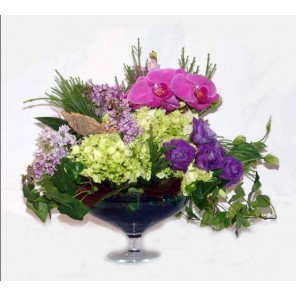 Lime Hydrangea with Floral Accents in a Glass Compote - PF64