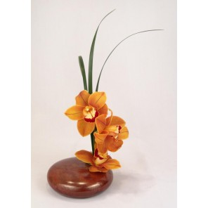 Orchids in Low Bonsai Ceramic Container - PF49