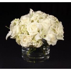Hydrangea, Lily and Roses in a low glass cylinder- PF71