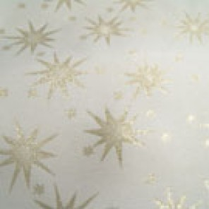 Ivory and Gold Starry Night Taffeta with Embossed Stars - LPR74