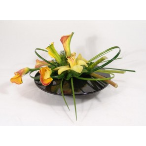 Mango Calla Lilies and Yellow Orchid - PF83