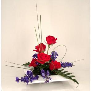 Red Roses & Blue Delphinium - PF87