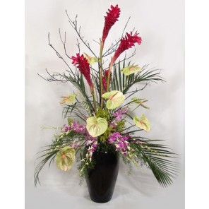 Tropical Ginger, Anthurium & Orchids in Black Urn - PF105