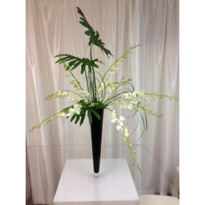 White Dendrobium Orchids with Monstera Leaves - PF95